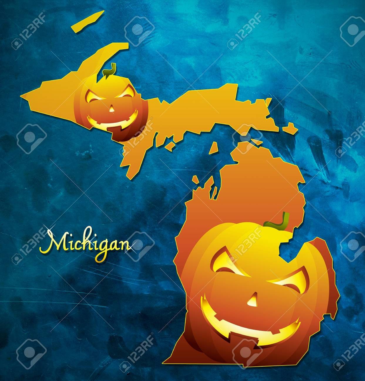 michigan state map usa with halloween pumpkin face illustration