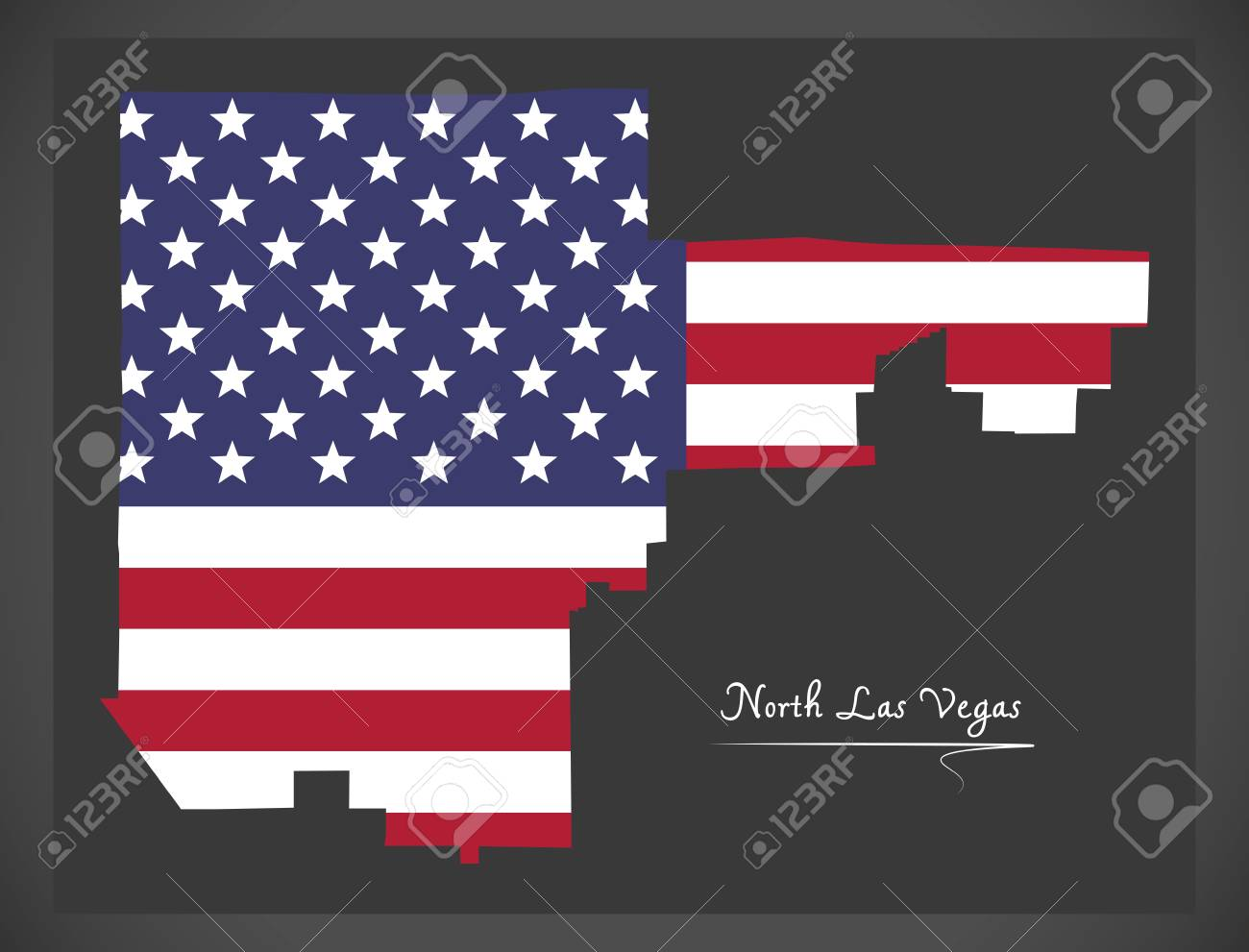 North Las Vegas Nevada City Map With American National Flag ...