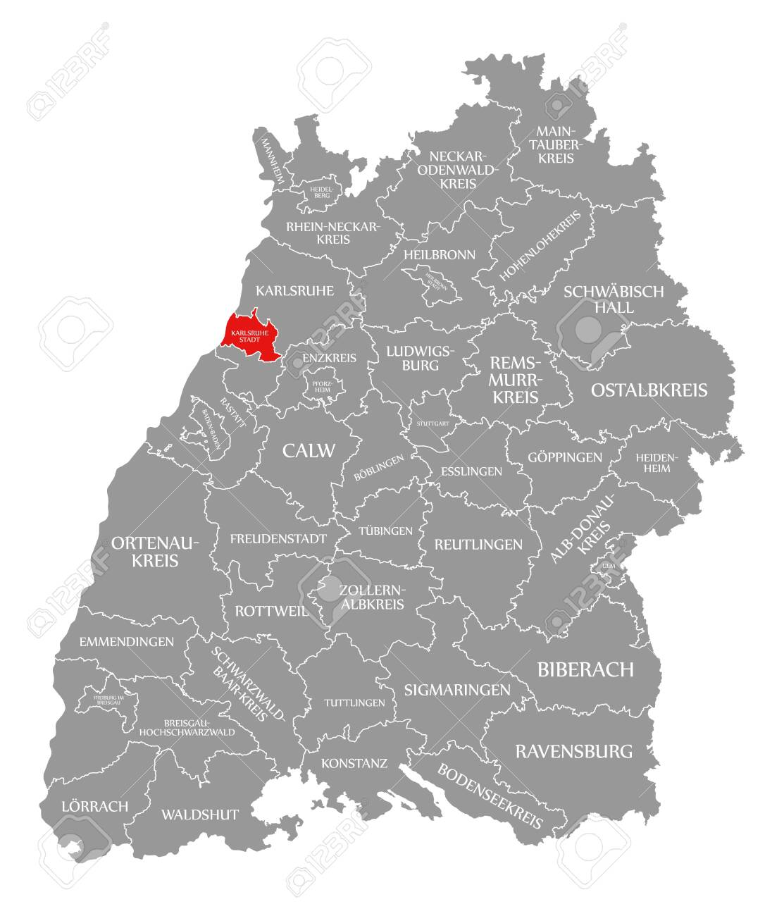 Karlsruhe Map Of Germany.Karlsruhe City County Red Highlighted In Map Of Baden Wuerttemberg