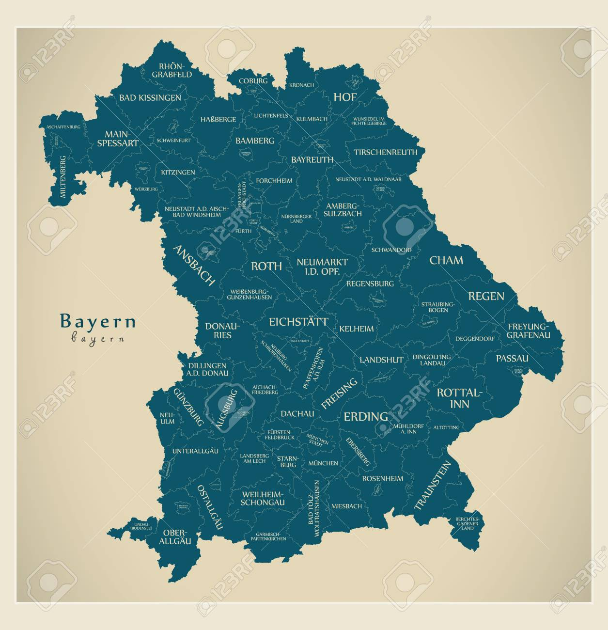 Modern Map Of Germany.Modern Map Bavaria Map Of Germany With Counties And Labels