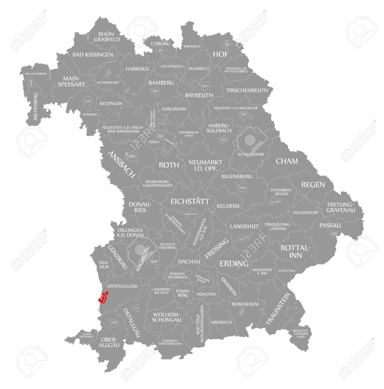 Map Of Germany Memmingen.Memmingen City Red Highlighted In Map Of Bavaria Germany