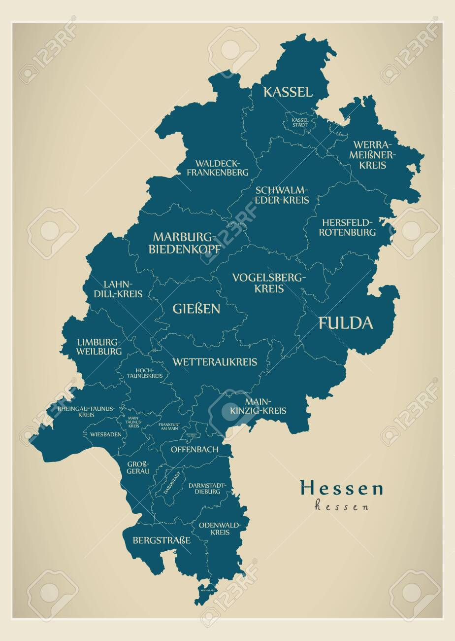 Modern Map Of Germany.Modern Map Hessen Map Of Germany With Counties And Labels