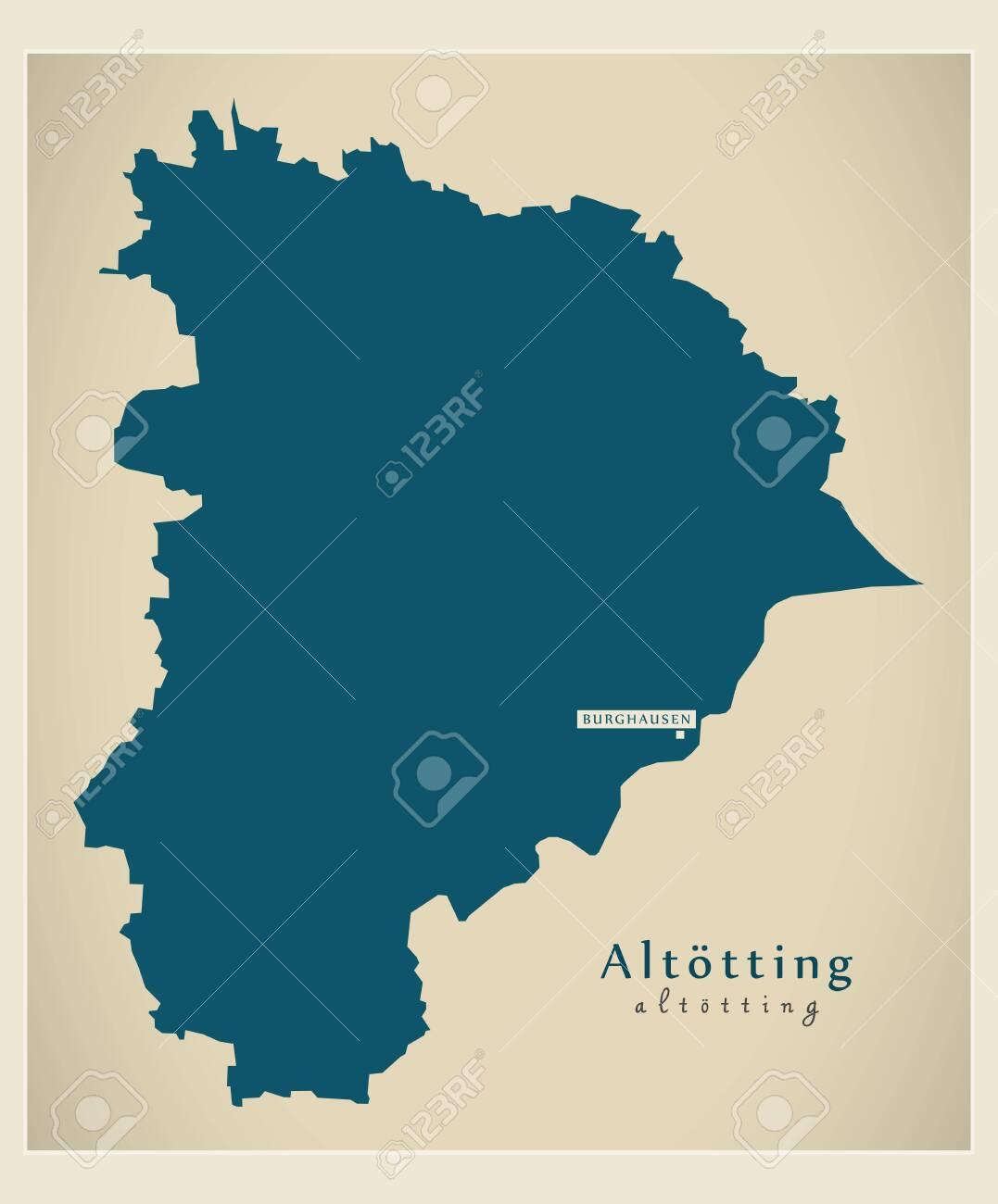 Modern Map - Altoetting county of Bavaria DE - 122852706