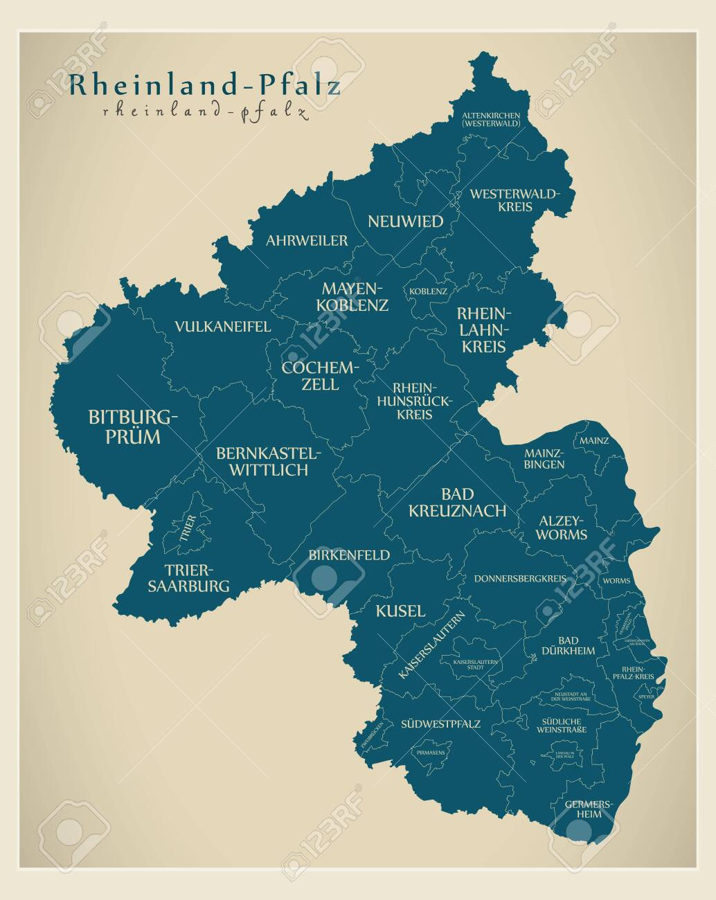 Modern Map Of Germany.Modern Map Rhineland Palatinate Map Of Germany With Counties