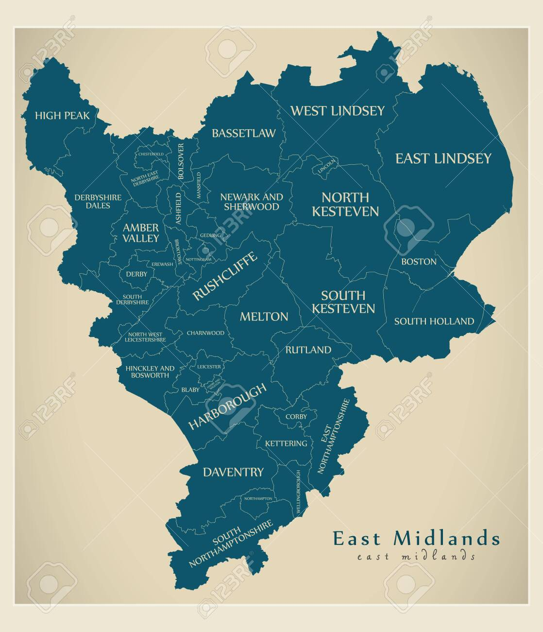 Map Of East Uk.Modern Map East Midlands Map Of England Uk With Districts And