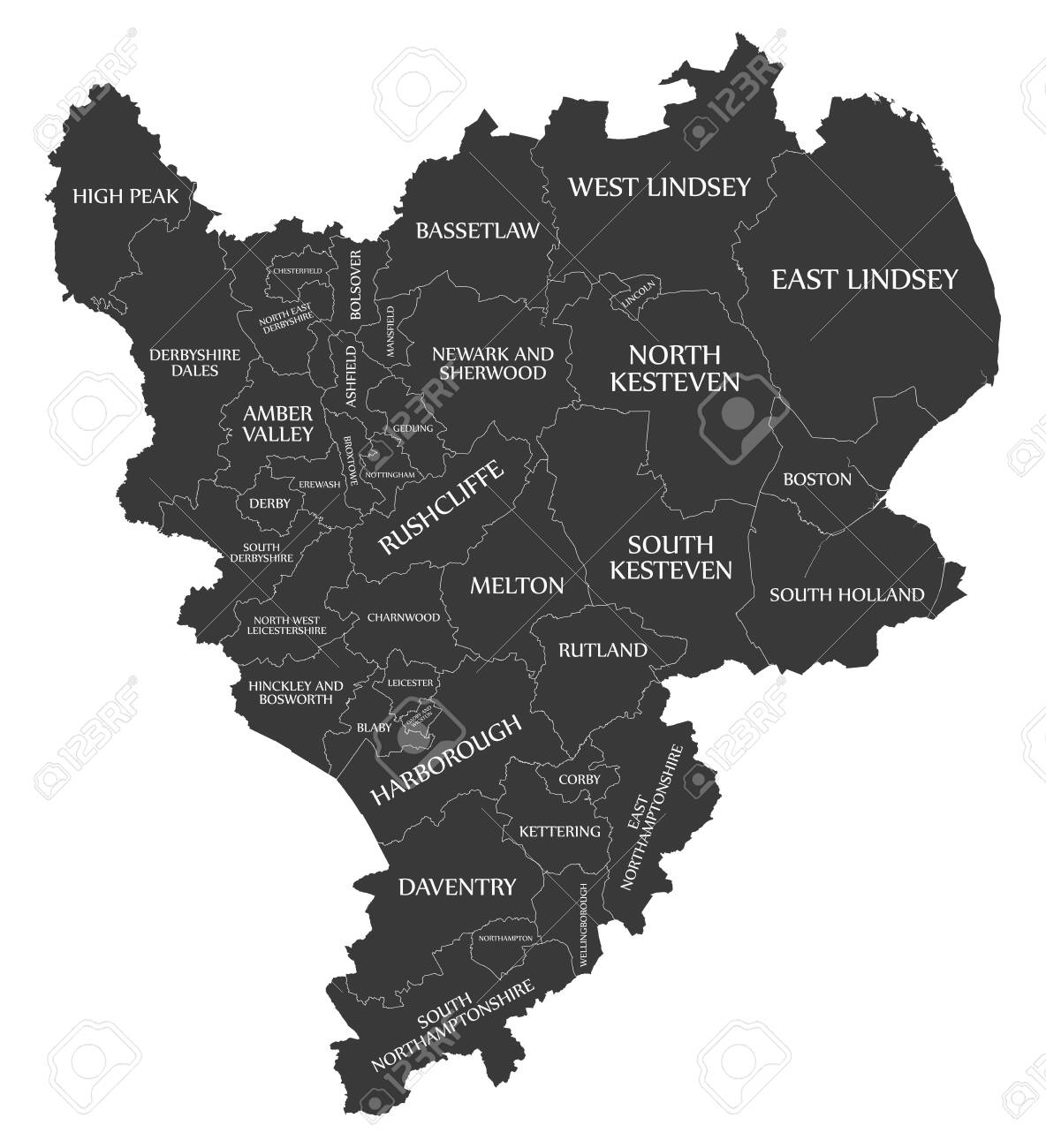 Map Of England Districts.Modern Map East Midlands Map Of England Uk With Districts And