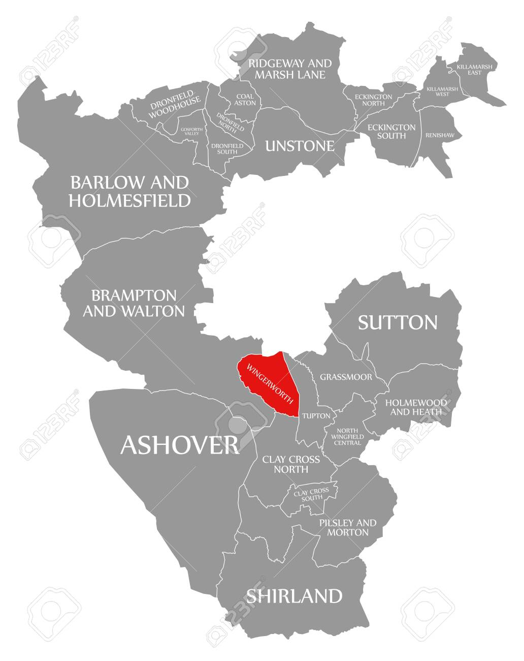 Map Of North Of England Uk.Wingerworth Red Highlighted In Map Of North East Derbyshire District