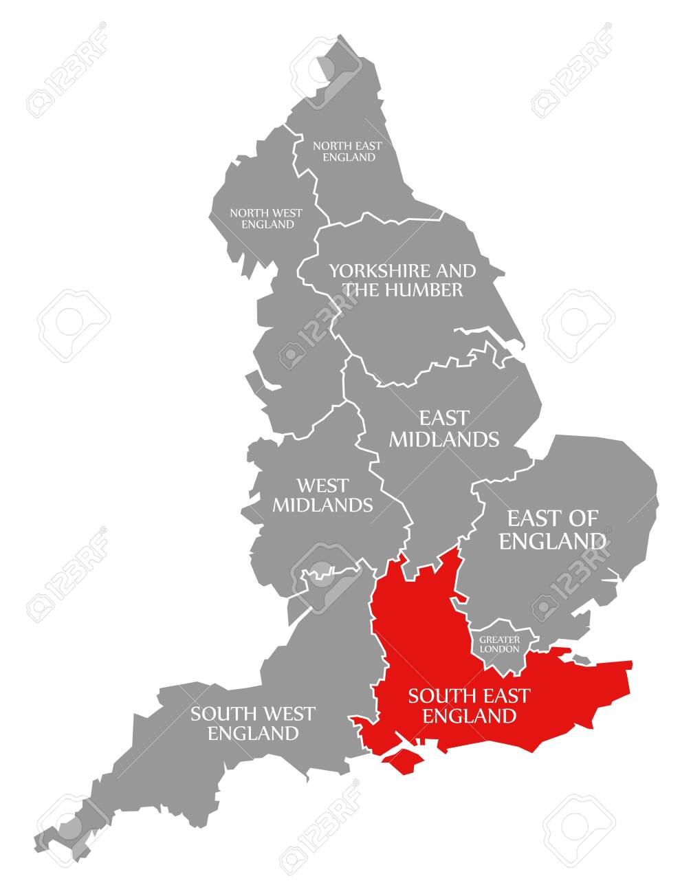 London Map North South East West.South East England Red Highlighted In Map Of England Uk