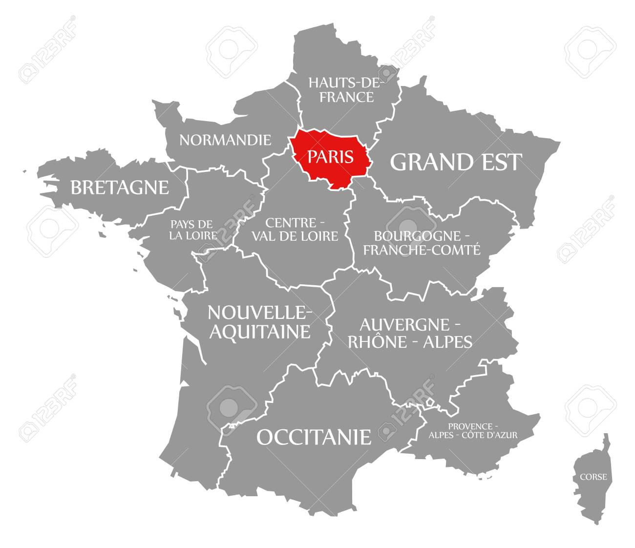 Map Of France With Paris.Paris Red Highlighted In Map Of France