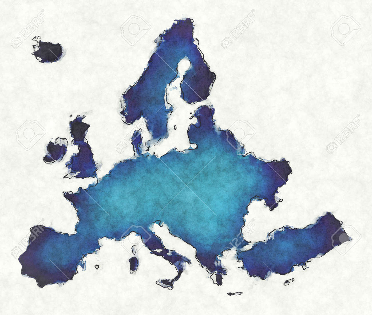 Europe map with drawn lines and blue watercolor illustration - 168026797