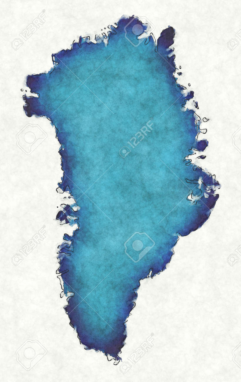 Greenland map with drawn lines and blue watercolor illustration - 168026953