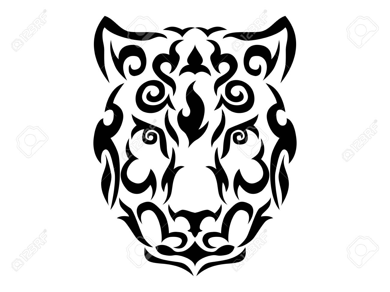 771757622 Tribal Snow Leopard Illustration Royalty Free Cliparts, Vectors, And ...