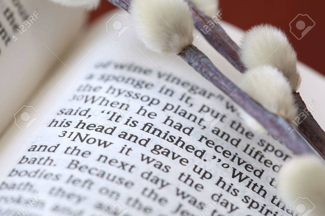 Open Bible with focus on the text in John 19:30: It is finished Stock Photo - 6660336
