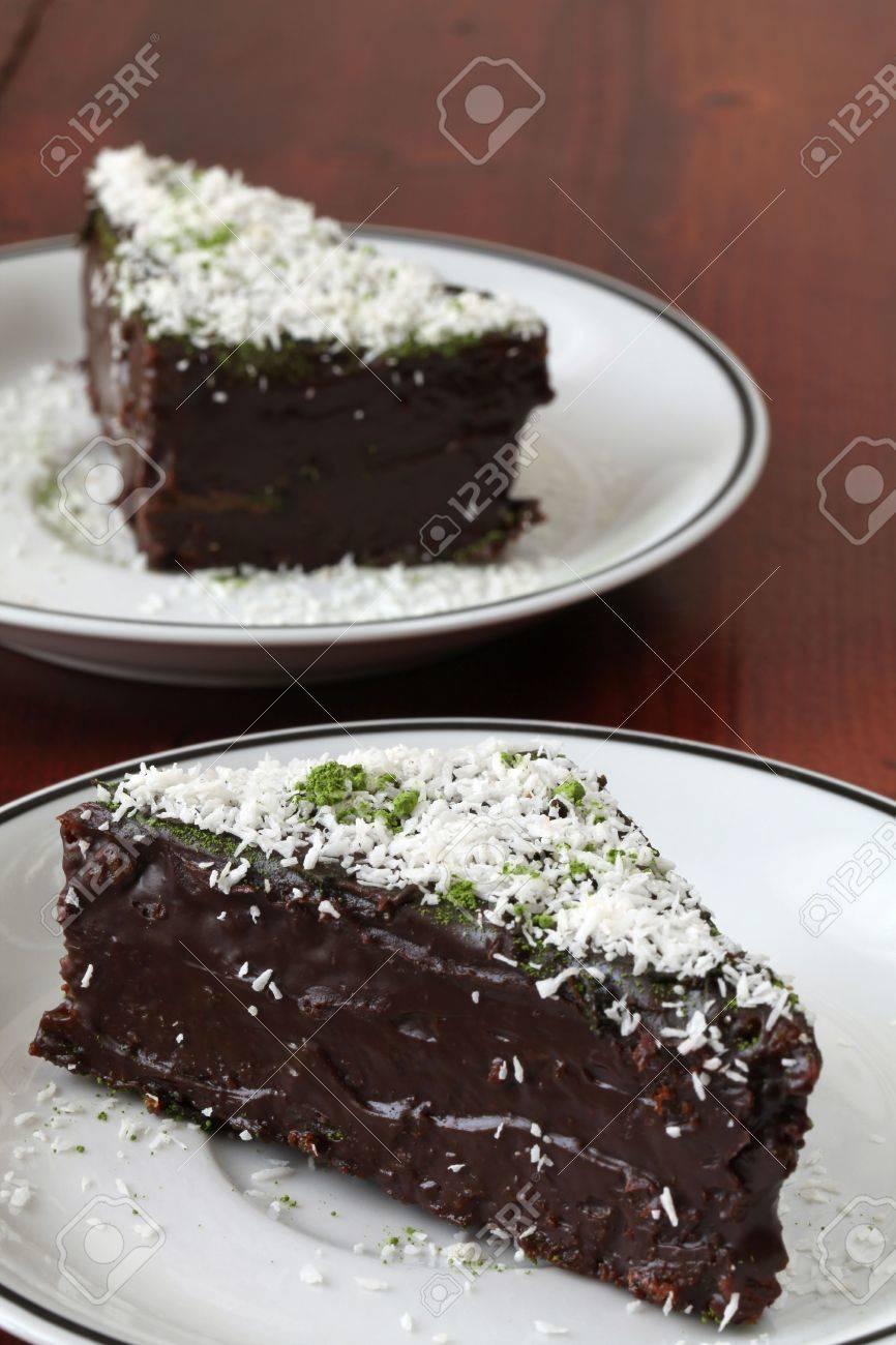 Chocolate cake garnished with coconut and Matcha green tea powder Stock Photo - 6787586
