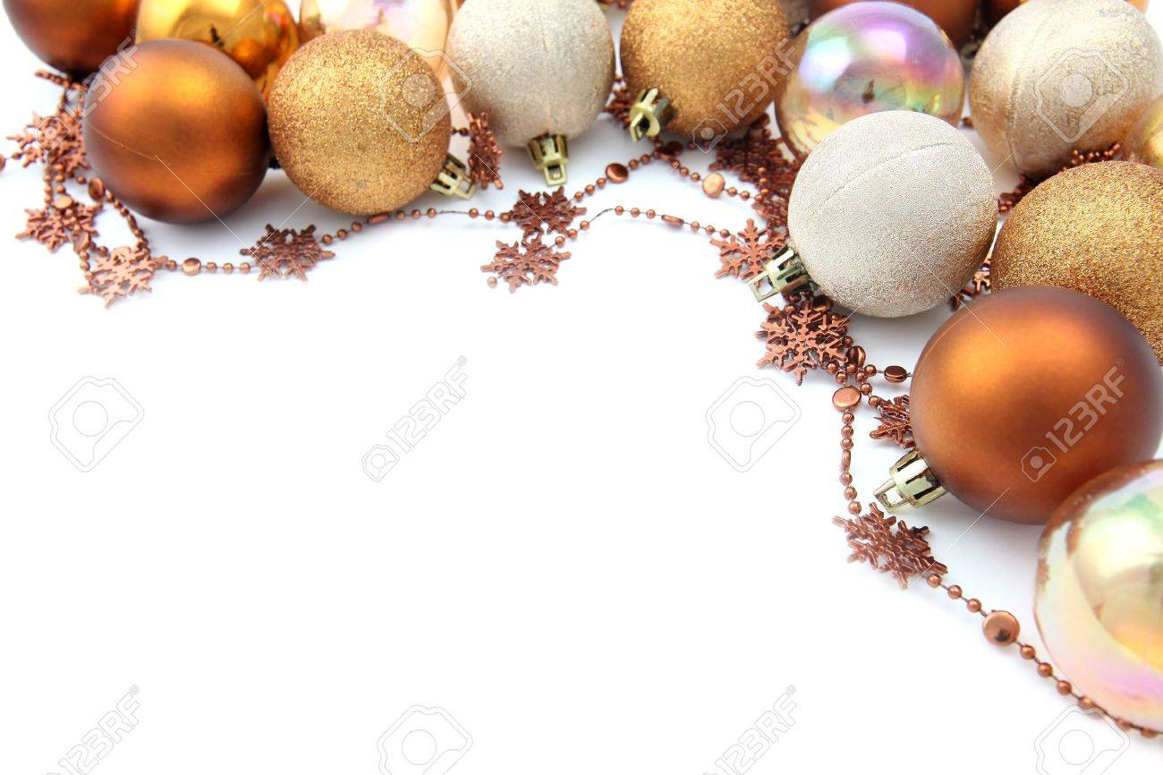 Christmas border with gold and brown ornaments isolated on white background. Shallow dof Stock Photo - 8118971