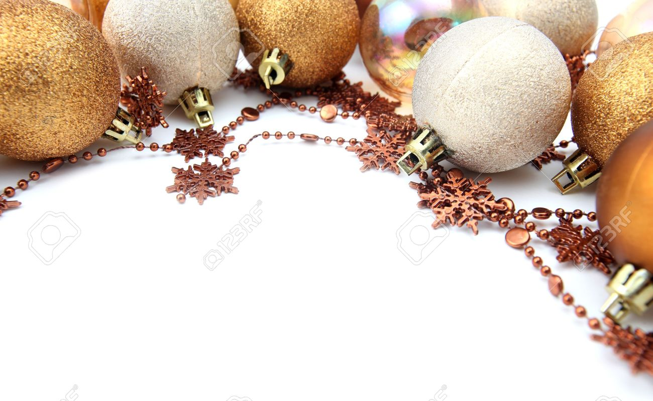 Christmas Border With Gold And Brown Ornaments Isolated On White  Background Shallow Dof Stock Photo
