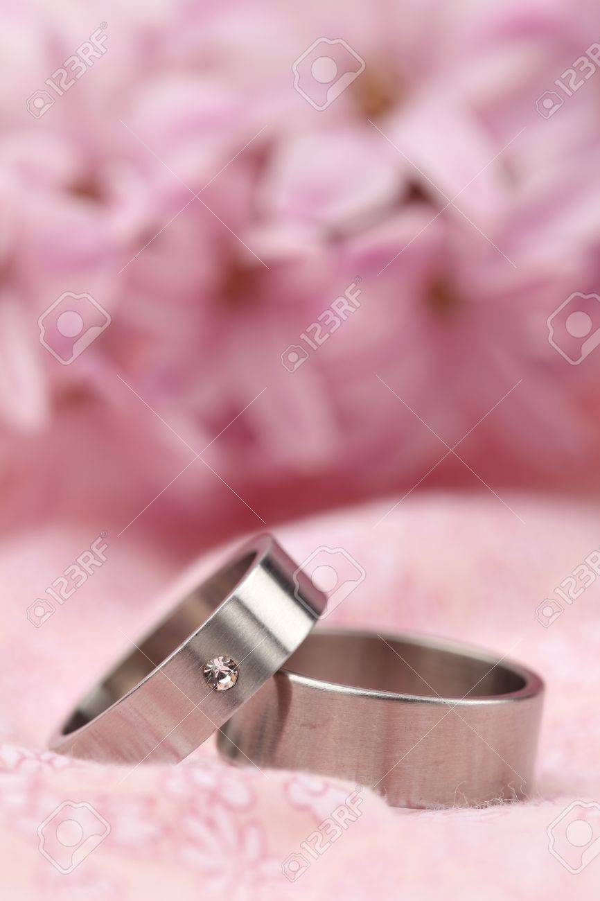 Titanium Wedding Rings On Pink Background With Hyacinth. Shallow ...