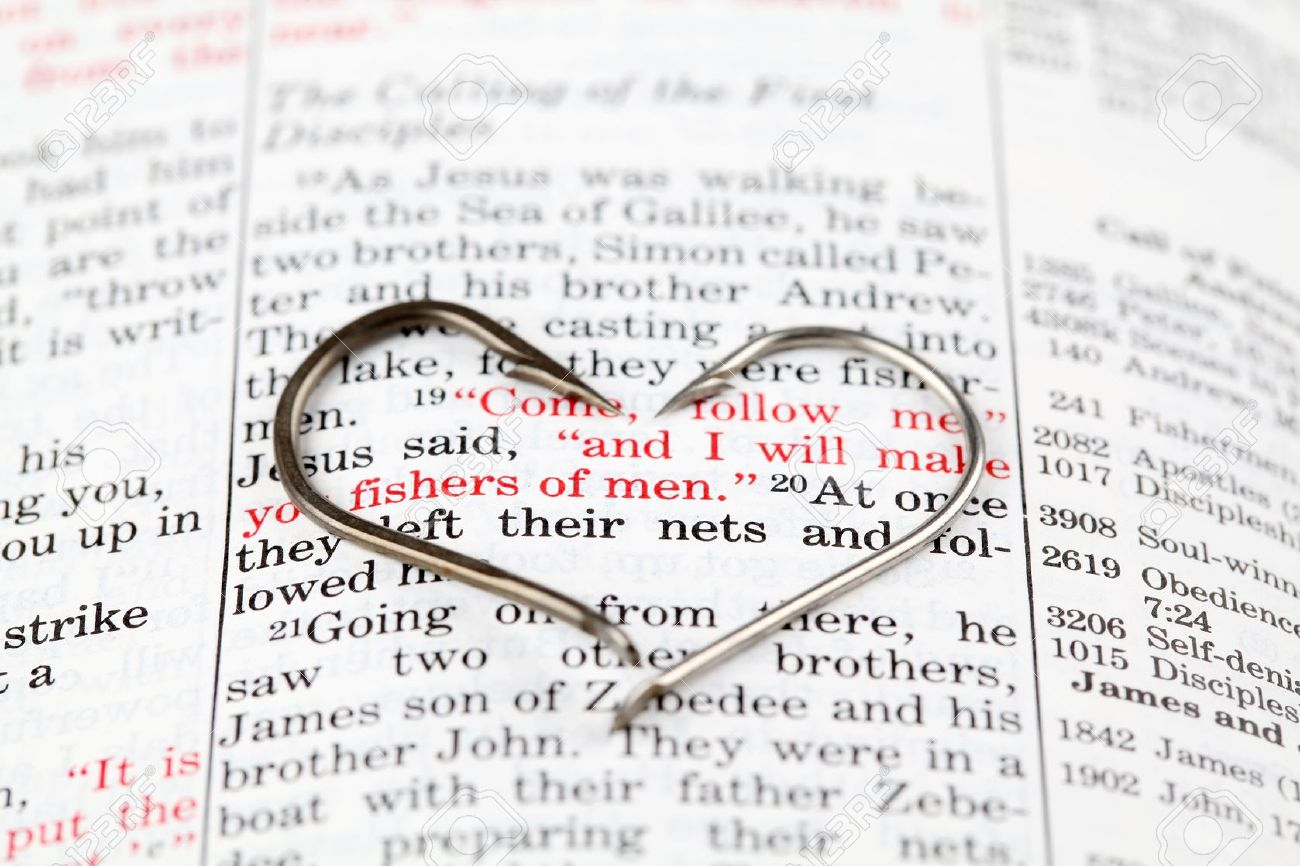 Fishing hook on the Bible with focus on Matthew 4:19 where Jesus calls disciples to be fishers of men Stock Photo - 8904172