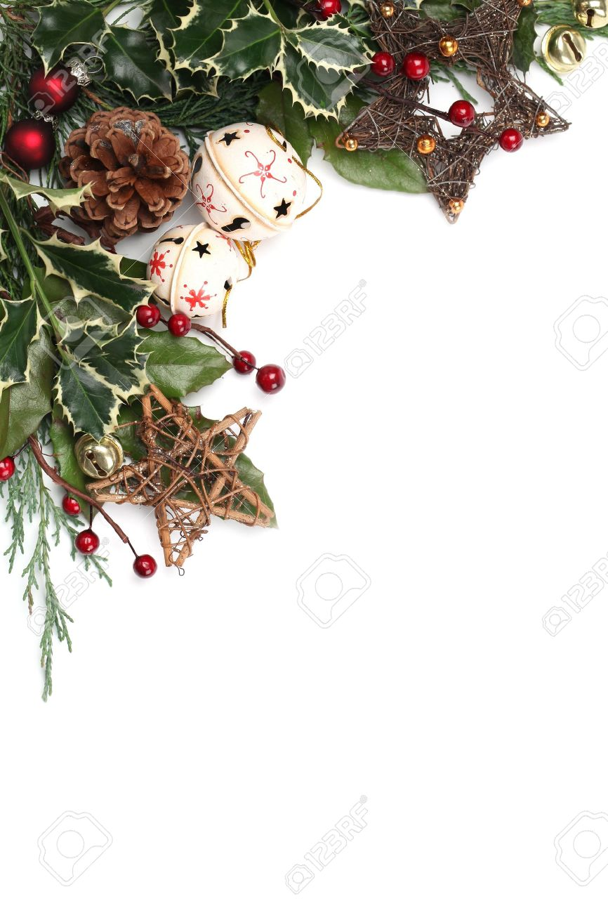 Christmas border with jingle bells, stars and other Christmas ornaments and decorations isolated on white. Shallow dof Stock Photo - 11480151