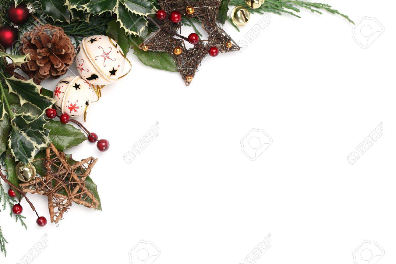 Christmas ornament frames - Christmas Border With Jingle Bells Stars And Other Christmas Ornaments And Decorations Isolated On White
