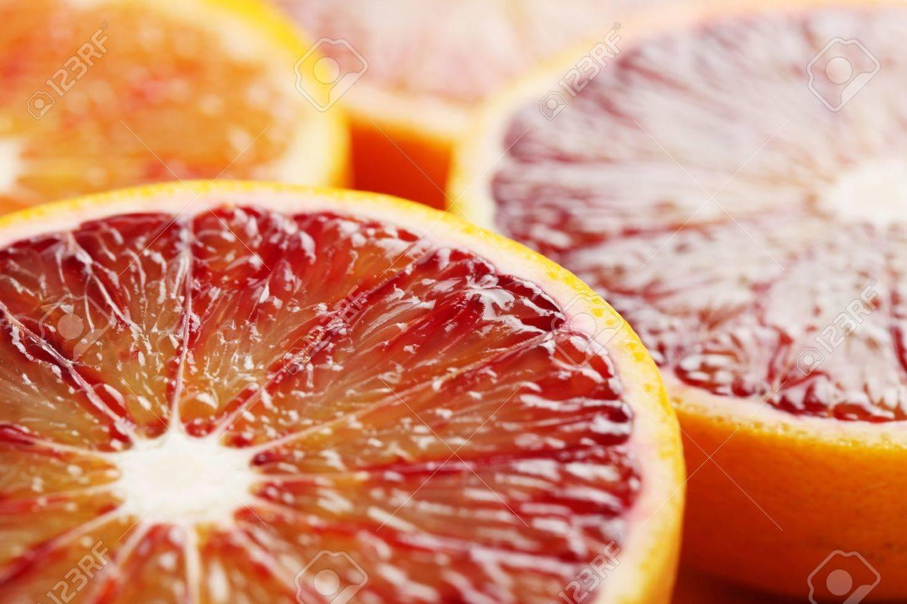 Close up of halved blood orange  Shallow dof Stock Photo - 17559790