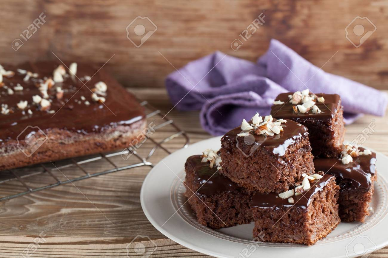 Gingerbread cake with chocolate and hazelnuts  Shallow dof Stock Photo - 20892487