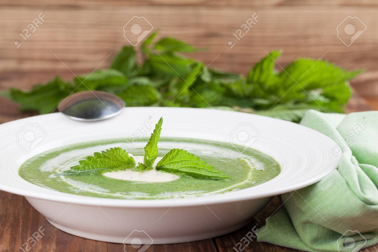 Nettle cream soup with sour cream  Shallow dof Stock Photo - 25109470