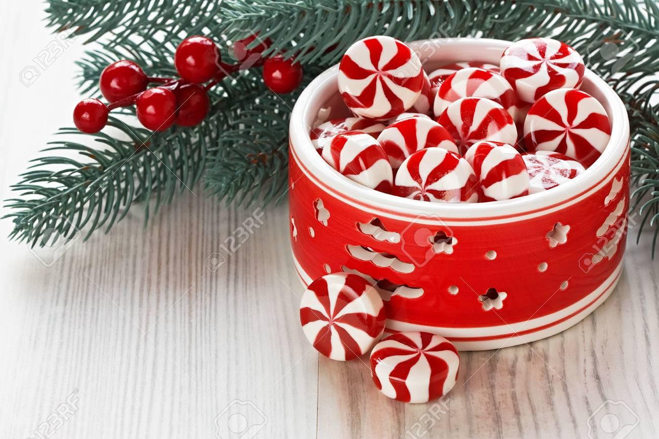 Caramelos Navidad. La Menta Dulce De Caramelo Y Decoracin De Navidad ...