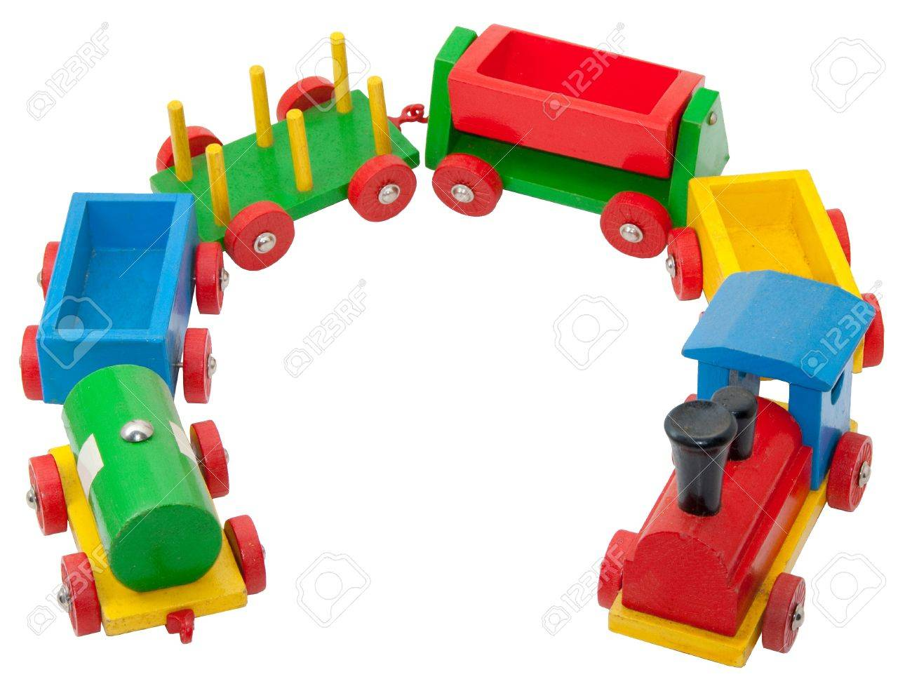 Colorful wooden model railway with steam locomotive and goods waggons Standard-Bild - 9826884