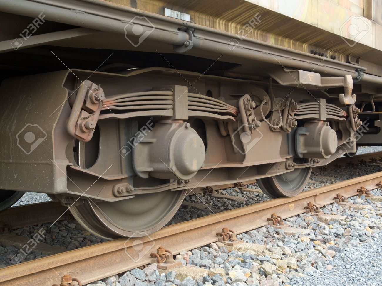 Bogie of a freight wagon with frame, leaf springs, wheels and