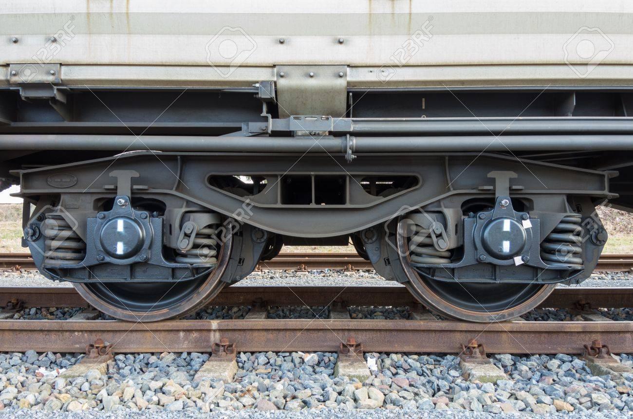Bogie eines Güterwagens mit Rahmen, Schraubenfedern, Räder und Achslager Standard-Bild - 19029410