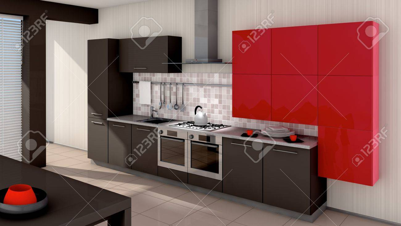 A modern kitchen interior. Made in 3d Stock Photo - 5511833