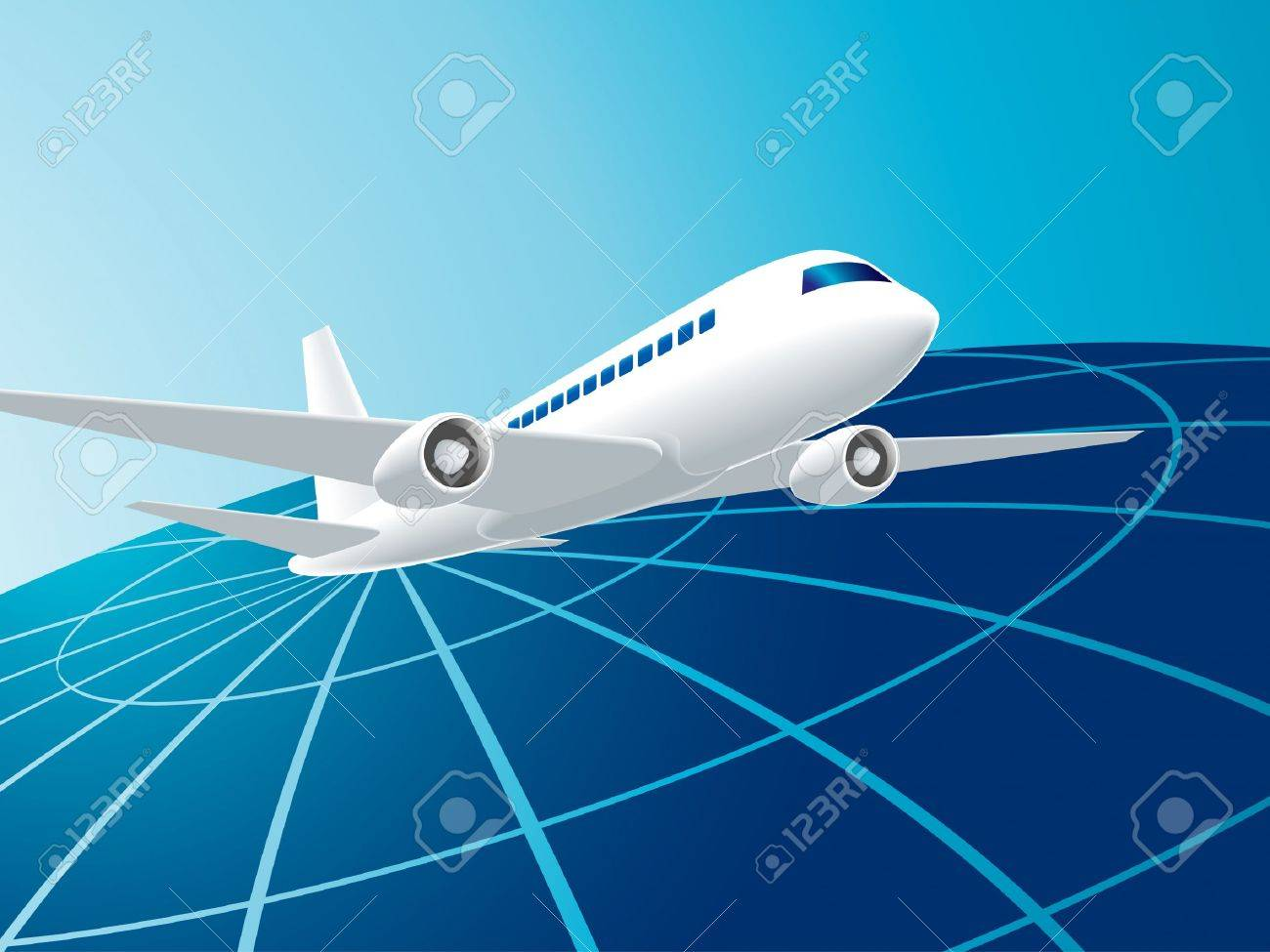Vector illustration of global travel by the plane Stock Vector - 5538143