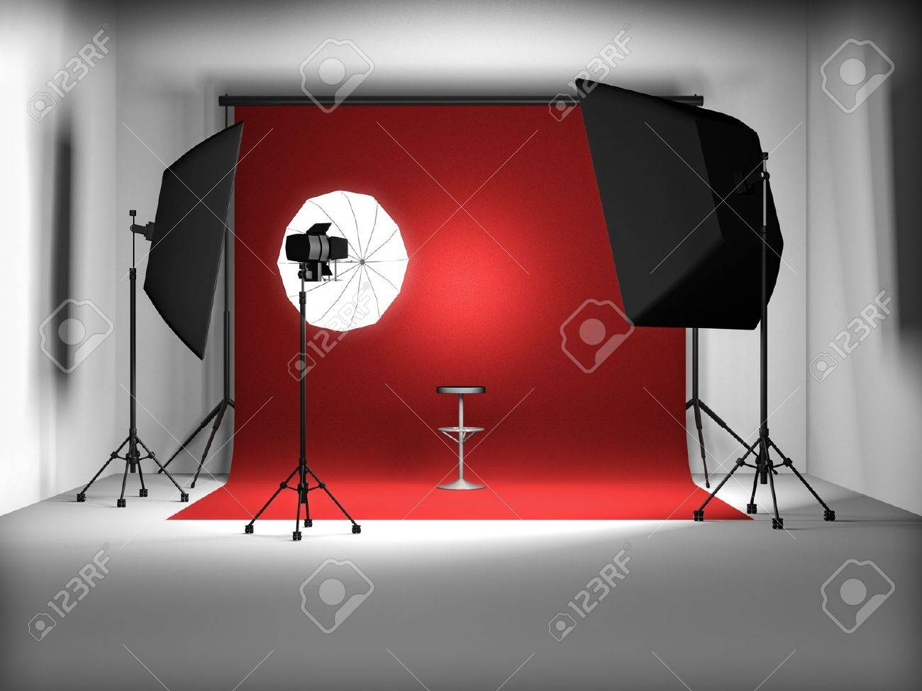 3d illustration of empty photo studio Stock Illustration - 8832353
