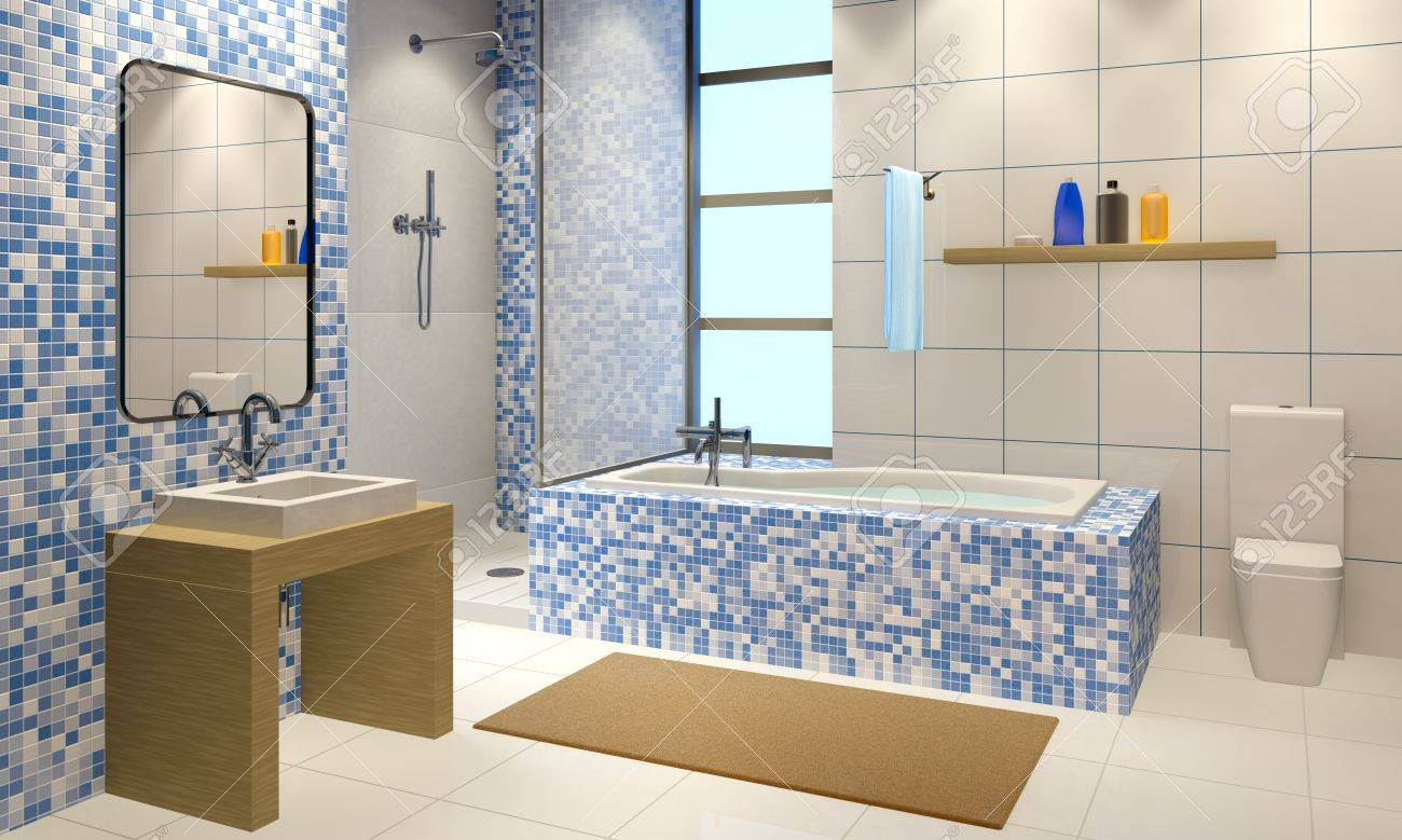 Bathroom Interiors 3d Illustration Of The Modern Bathroom Interior Stock Photo
