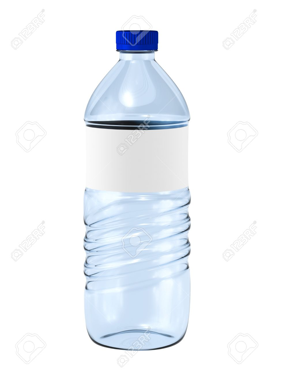 Water Bottle With Blank Label On White. Stock Photo, Picture And ...