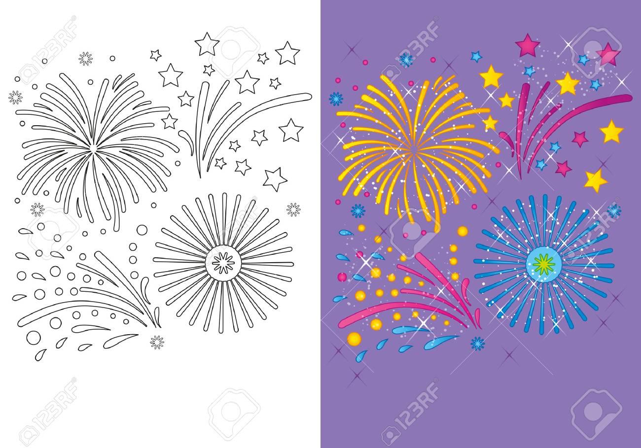 Ilustración Del Vector De Fuegos Artificiales De Navidad Para Colorear Página Para Los Niños