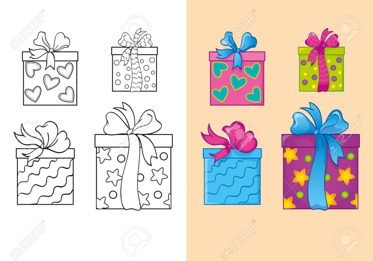 Ilustración Vectorial De Conjunto De Cajas De Regalo Cuadrado De ...