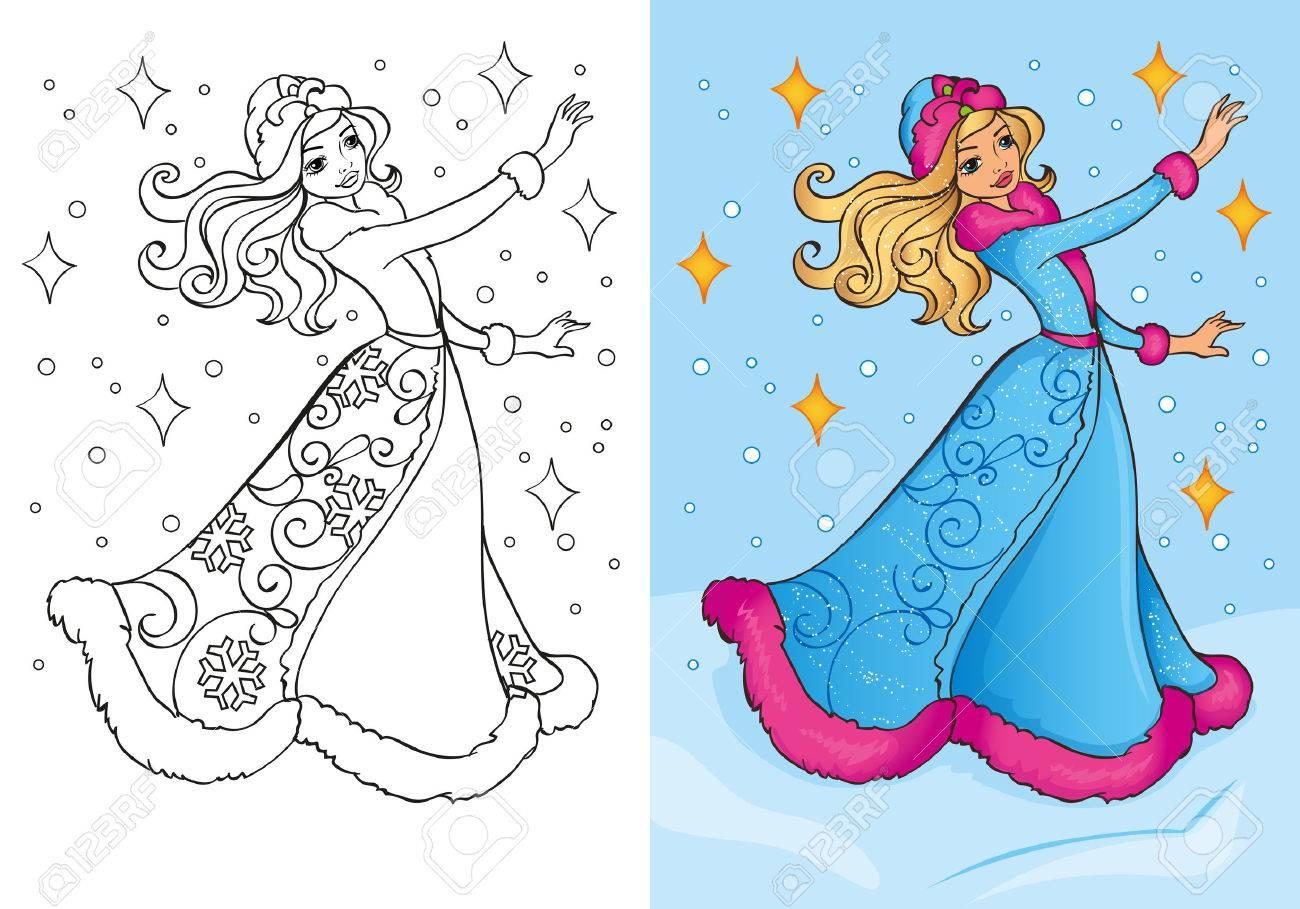 Vektor Illustration Von Schnee Madchen Im Traditionellen Kostum