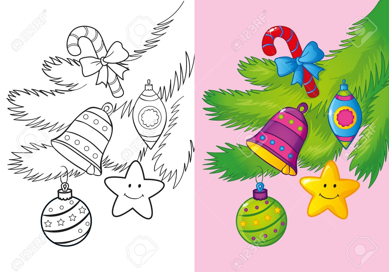 Vector Illustration Of Christmas Decoration On The Tree Branch For ...