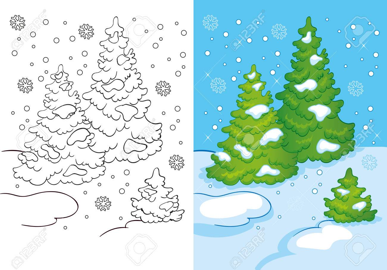 Vector Illustration Of Three Trees In The Snow For Coloring Page ...