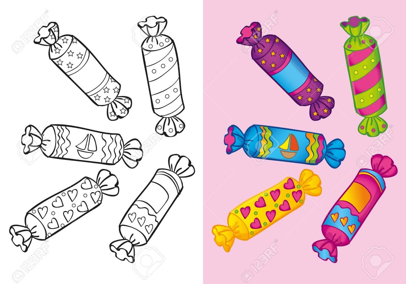 Encantador Lindo Caramelo Para Colorear Elaboración - Ideas Para ...