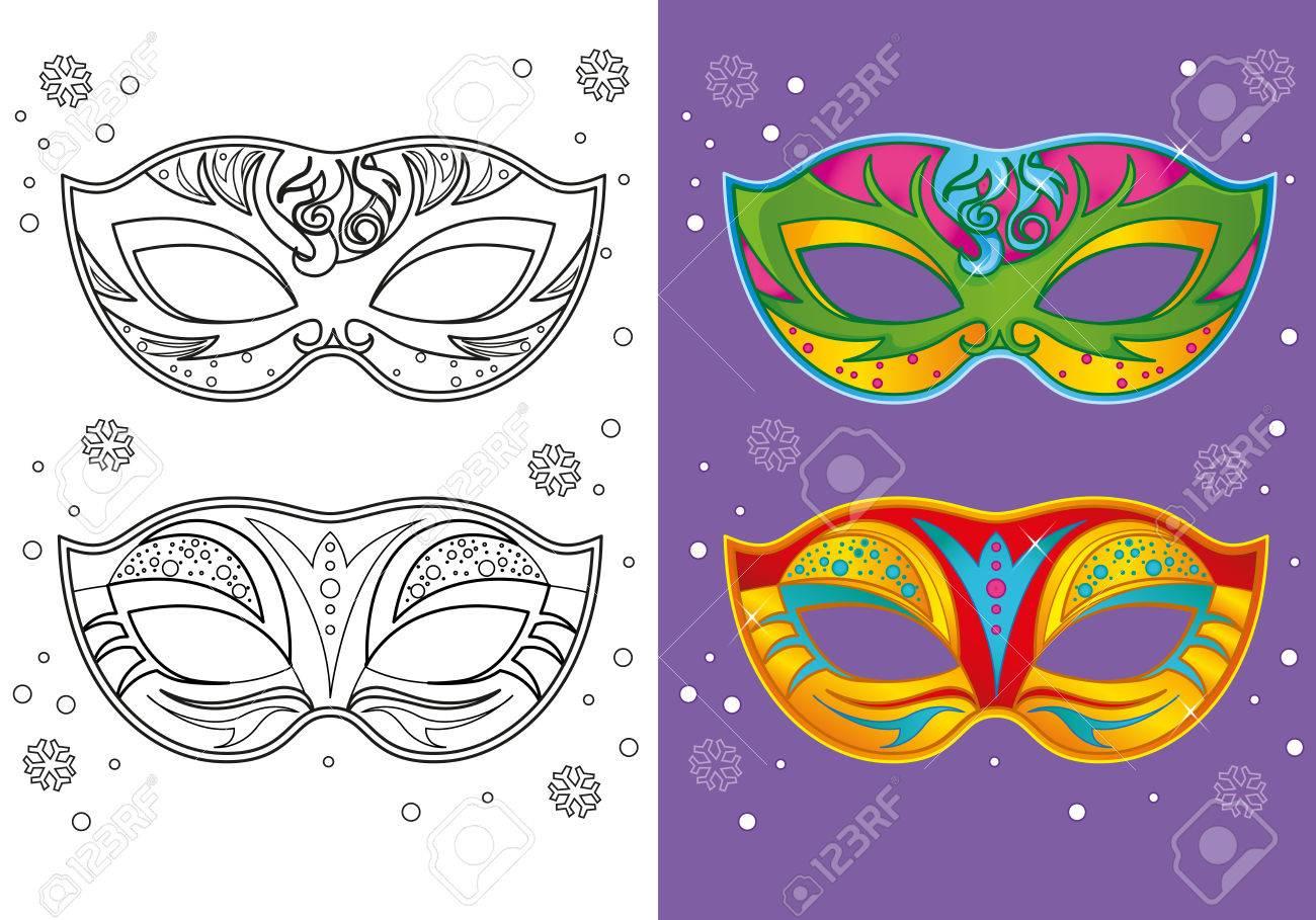 Ilustración Vectorial De Dos Máscaras De Carnaval Para Colorear ...