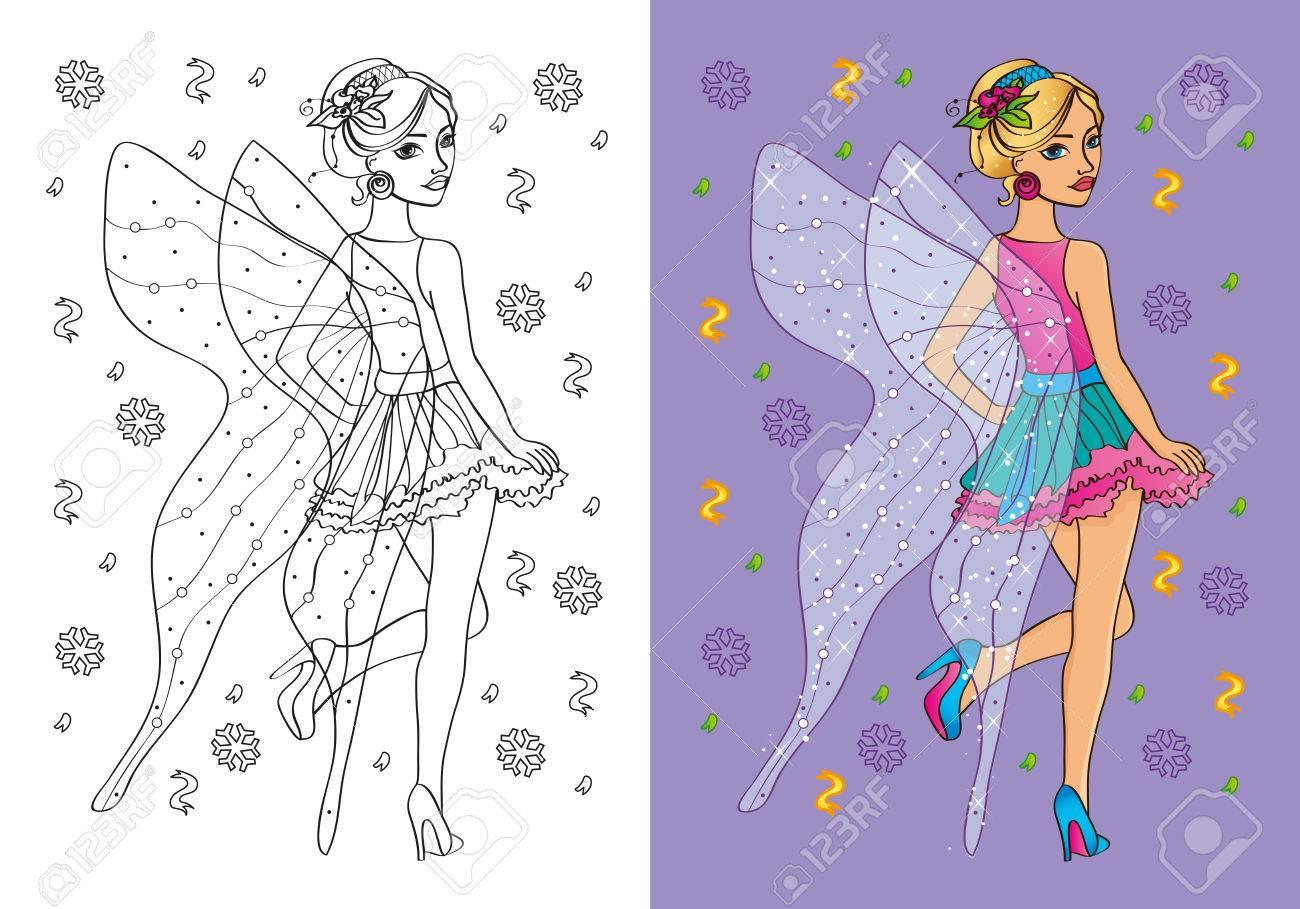 Vektor-Illustration Von Mädchen In Einem Feenhaften Kostüm Mit Einem ...