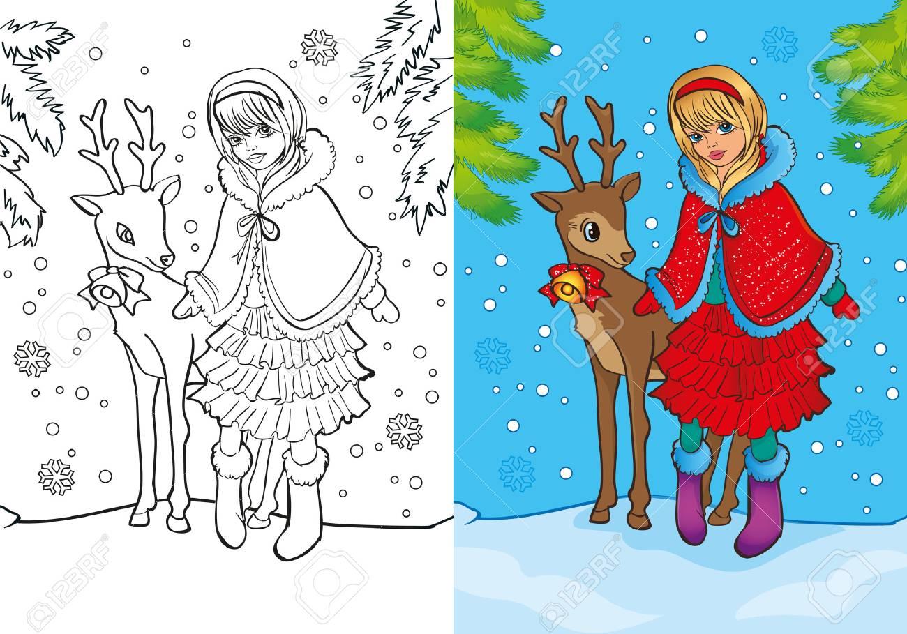 Vektor Illustration Von Madchen Als Weihnachtsmann Verkleidet