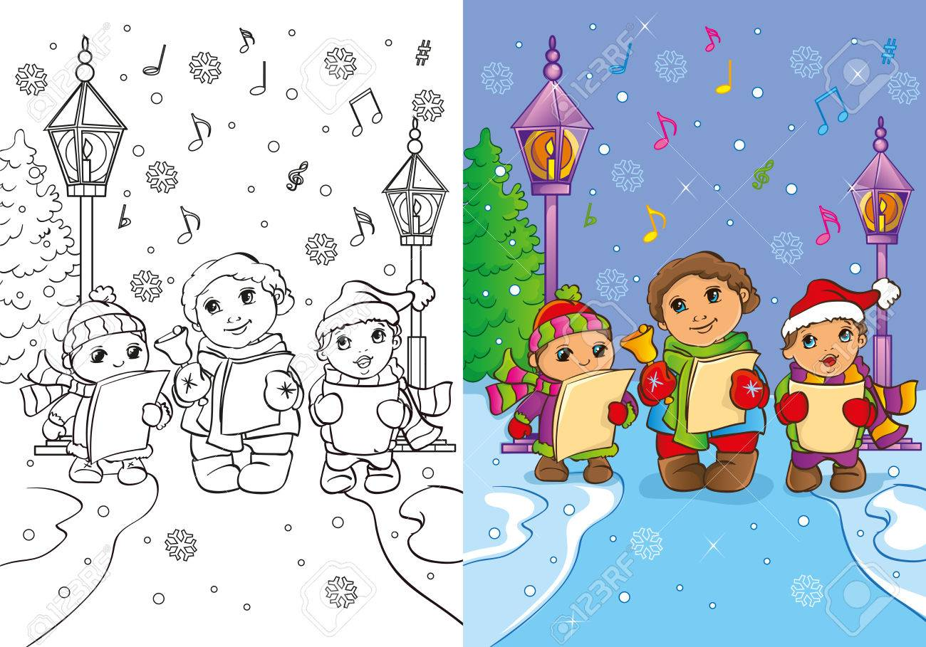 Vector Illustration Of Children Sing Christmas Carols In The ...