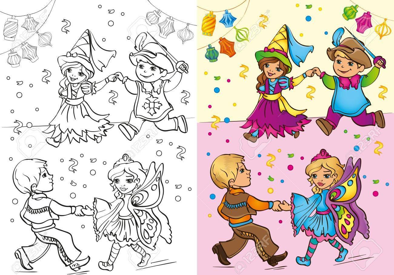 Vektor Illustration Der Kinder Im Karneval Kostume Tanzen Fur