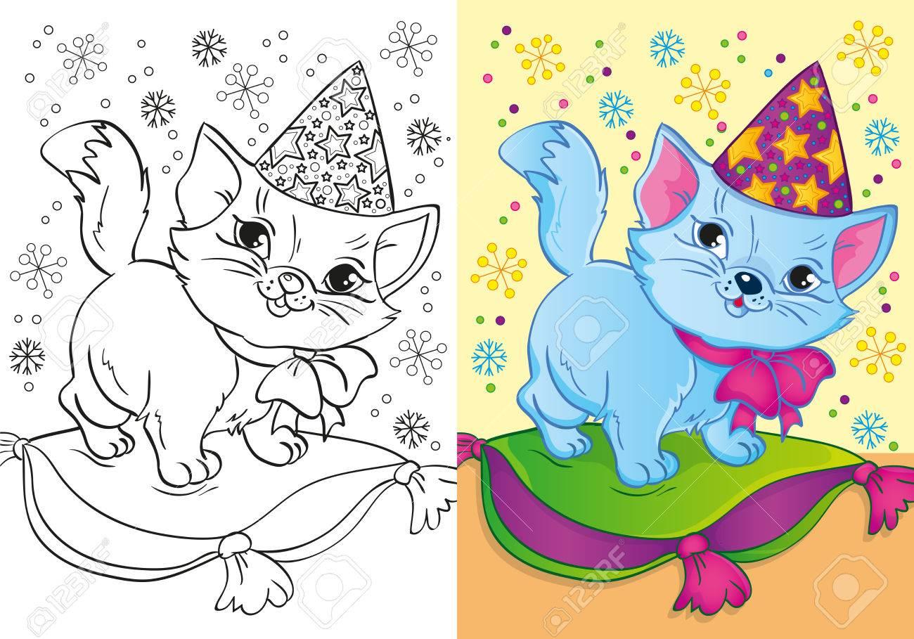 La Ilustración Del Vector Del Gato En Un Casquillo De La Navidad ...