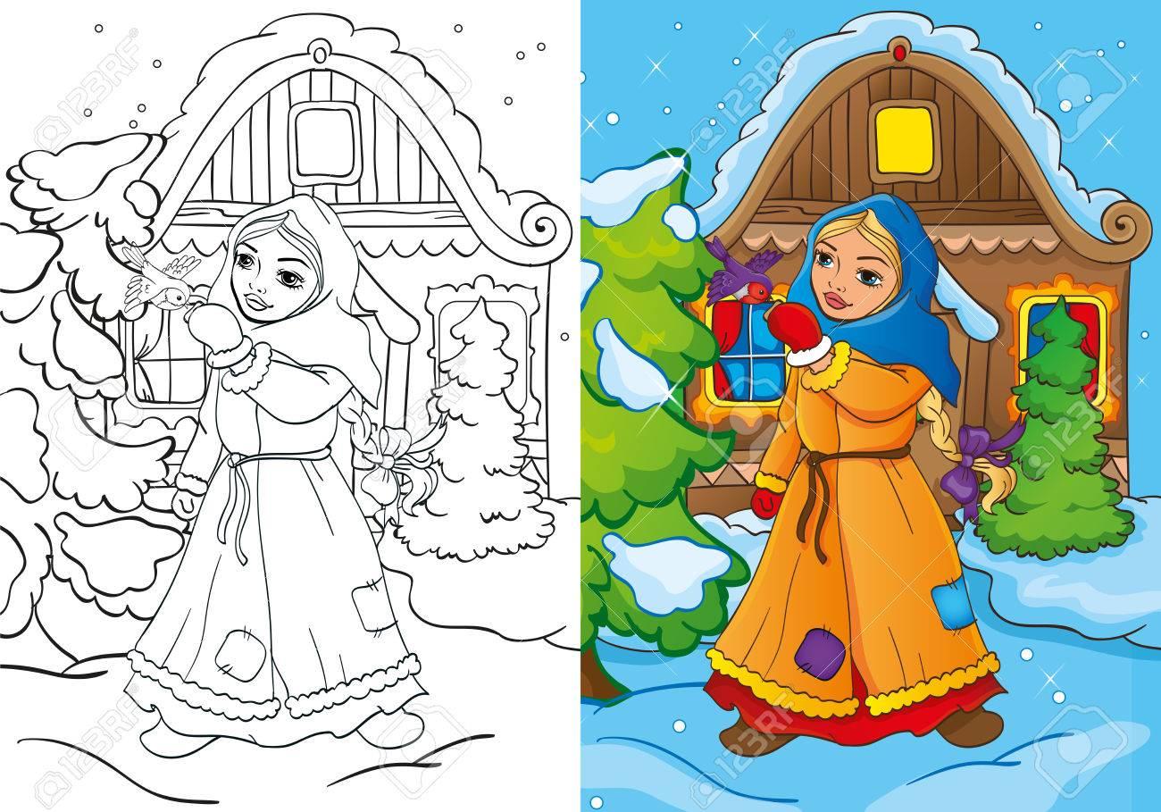 Ilustración Vectorial Pobre Muchacha Introduce Un Pájaro Para Colorear Página Para Los Niños