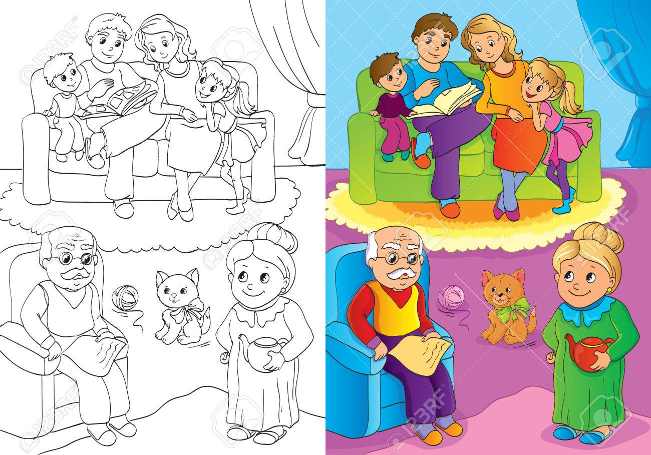Vector Illustration Of Mother And Father And Children And ...